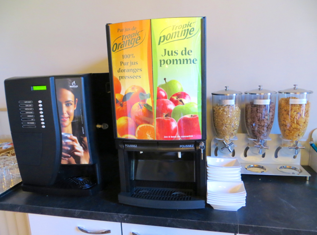 La Grande Eperviere Barcelonnette France Hotel Review - Breakfast Juice and Coffee Machines