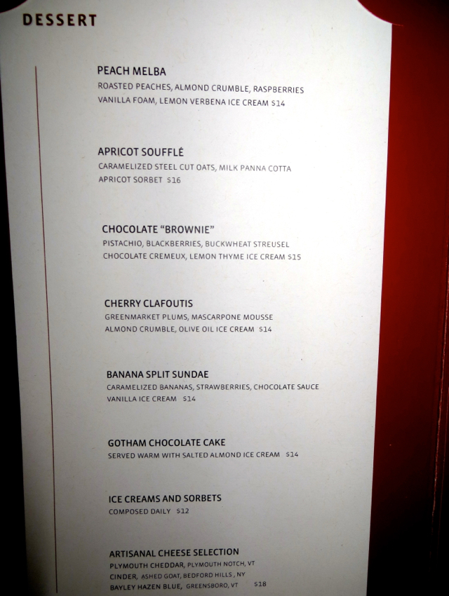 Gotham Bar and Grill NYC Restaurant Review - Dessert Menu