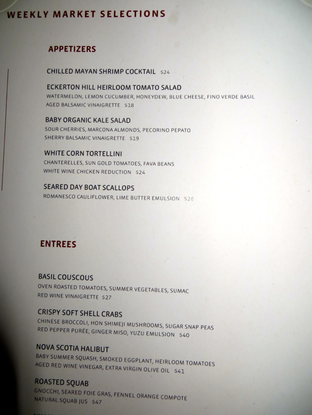 Gotham Bar and Grill NYC Restaurant Review - Weekly Market Menu