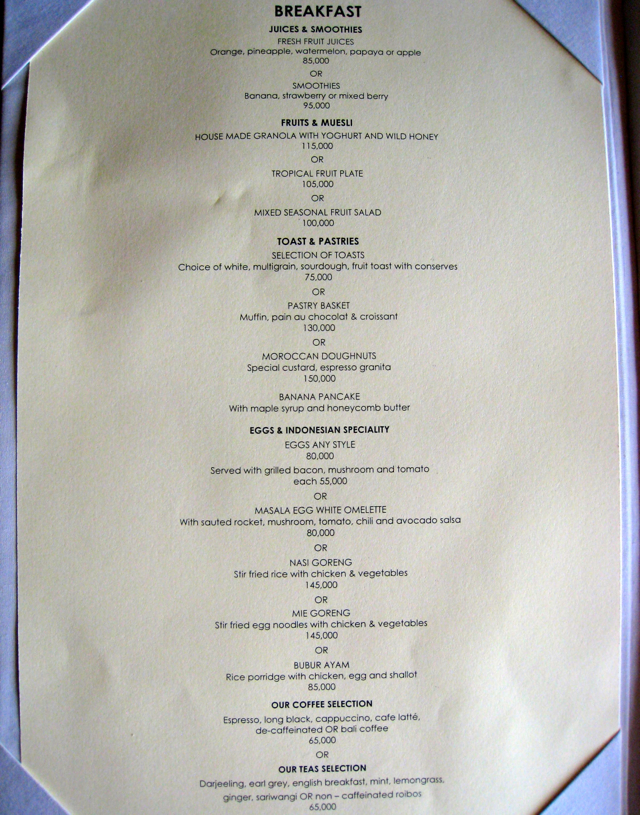 Amankila Breakfast Menu
