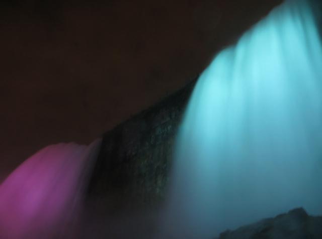 Cave of the Winds Niagara Falls Review - Bridal Veil Falls Illuminated at Night
