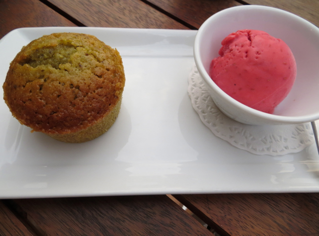 Vinoneo Bistro Marseille Restaurant Review - Pistachio Financier and Raspberry Sorbet