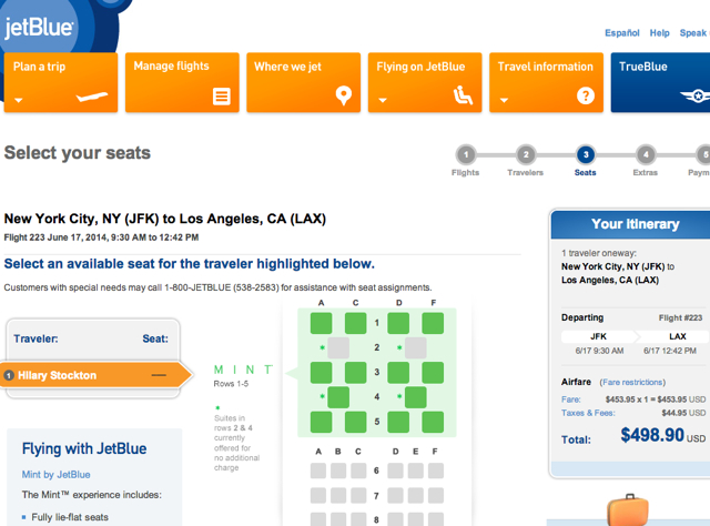 JetBlue Mint Review-Suite and Seat Selection