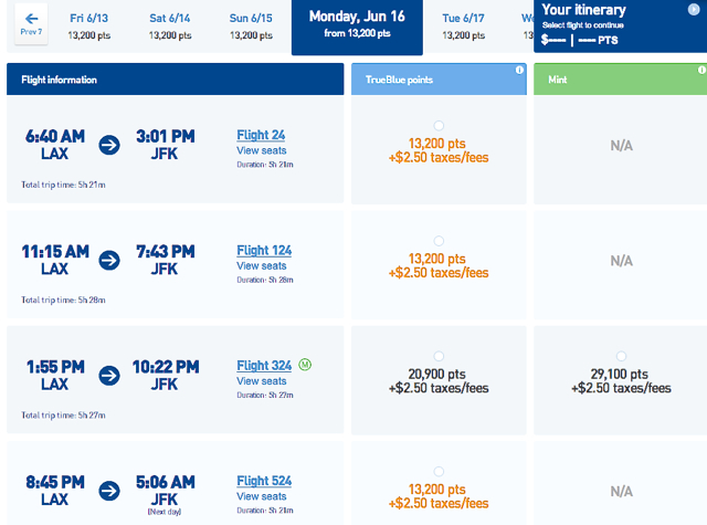 JetBlue MINT Private Suites and Business Class Flat Bed Seats on Sale - LAX-JFK Award