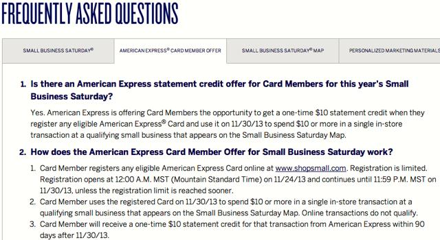 AMEX Small Business Saturday $10 Statement Credit FAQ