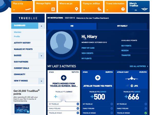 JetBlue TrueBlue Family Pooling Account - Head of Household Dashboard