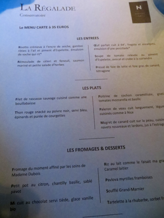 La Regalade Conservatoire Paris Review - Dinner Menu 35 Euros
