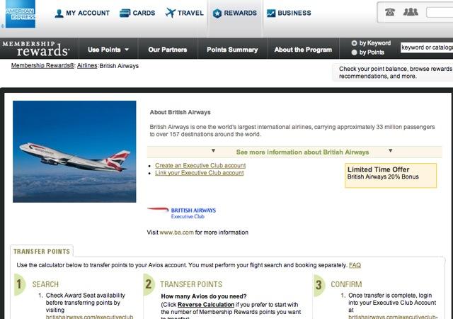 20% AMEX Membership Rewards Transfer Bonus to British Airways Avios