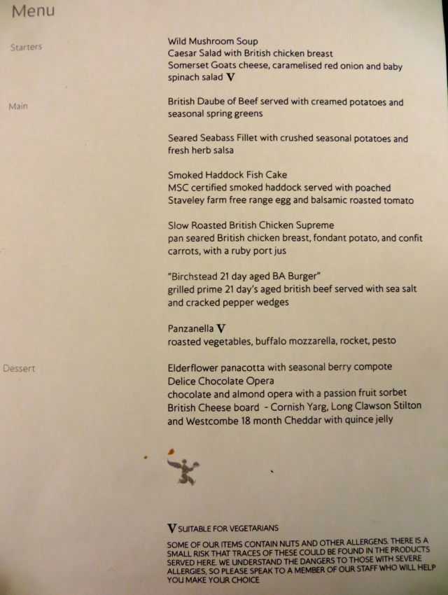 British Airways Concorde Room-Cabana Food Menu
