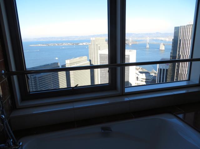 Mandarin Oriental San Francisco Hotel Review - Mandarin Bay Bridge Bathroom View of Bay Bridge