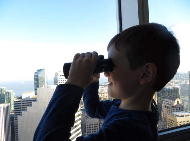 Mandarin Oriental San Francisco Hotel Review - Enjoying the Views with Binoculars