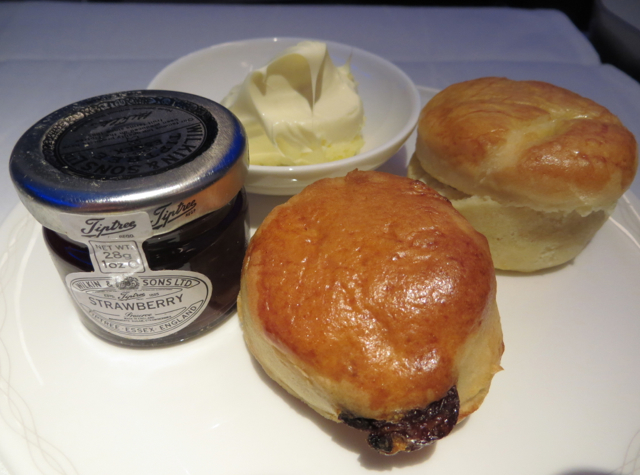 British Airways New First Class Review - Afternoon Tea Scones with Clotted Cream and Jam