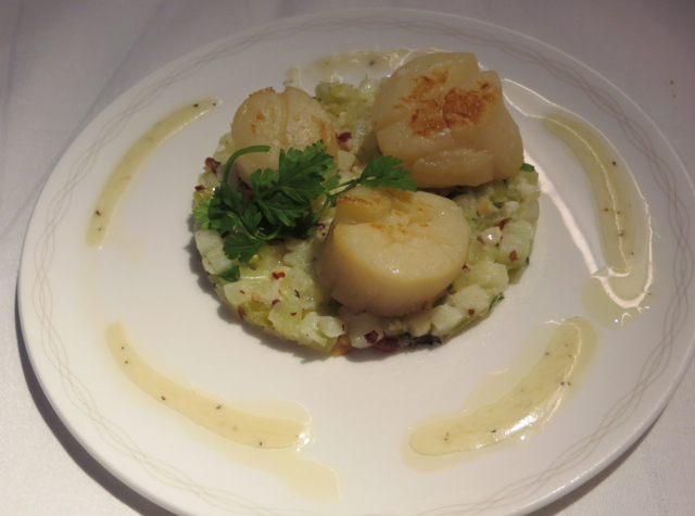 British Airways New First Class Review - Seared Scallops Appetizer
