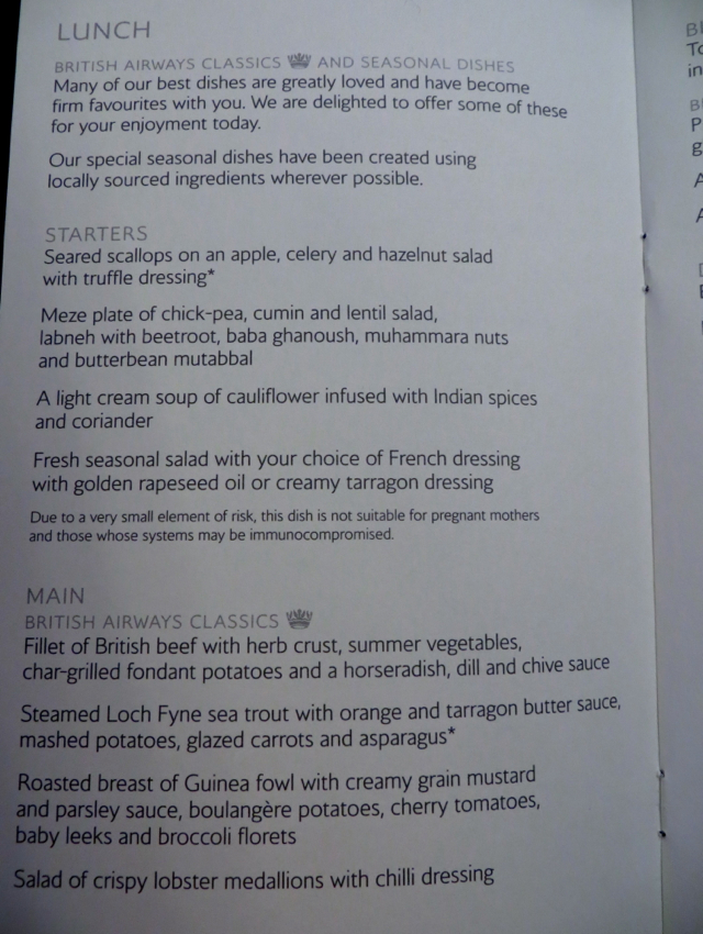 British Airways New First Class Lunch Menu