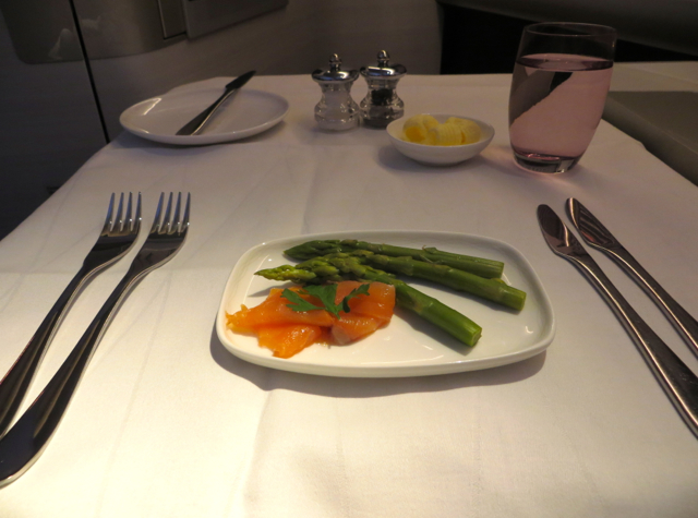 British Airways New First Class Review: Smoked Salmon Amuse Bouche