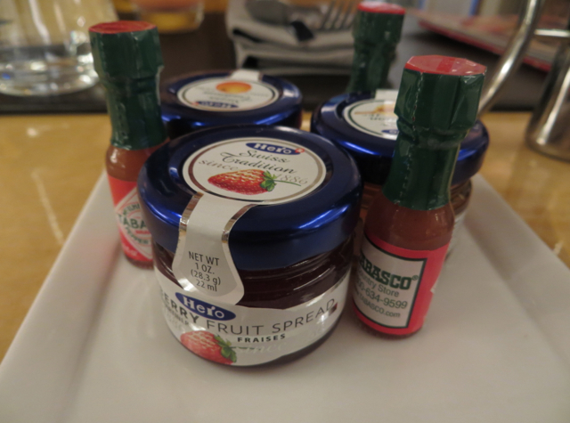 Brasserie S&P Breakfast - Hero Jams and Tabasco Sauce