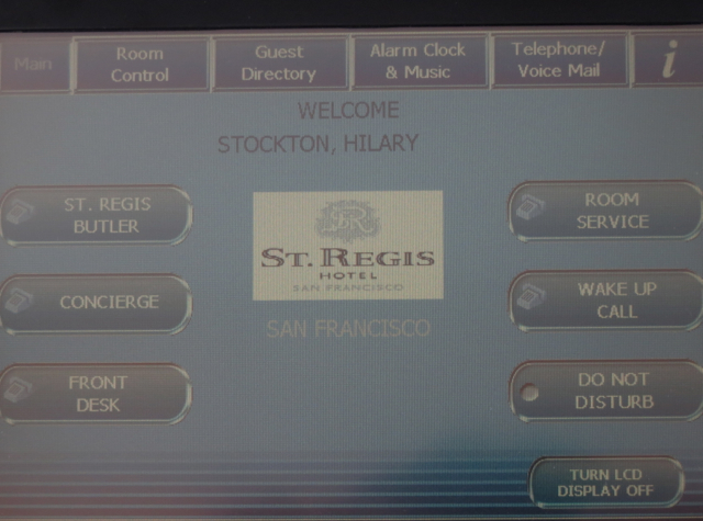 St. Regis San Francisco Hotel Review - Telephone Touch Screen
