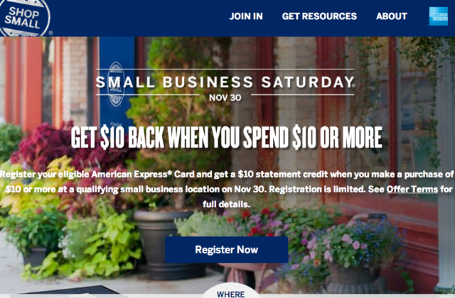 Register for AMEX Small Business Saturday November 30