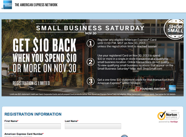 Registration Open for AMEX Small Business Saturday November 30