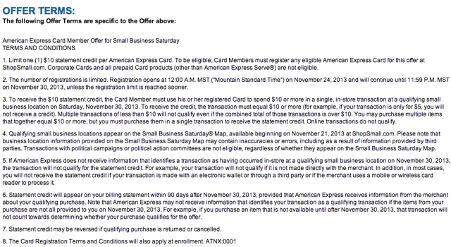 AMEX Small Business Saturday 2013 Terms