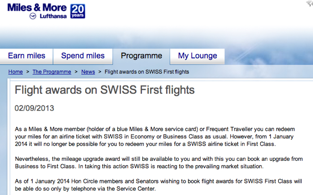 SWISS First Class with Miles & More Not Bookable from 1/1/14 Except for Miles & More Elites