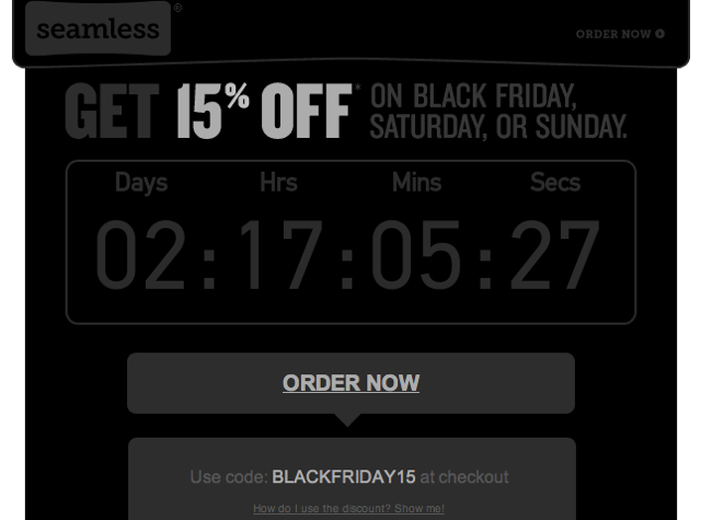 Black Friday Deals - Seamless 15% Off