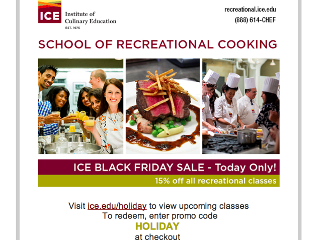 Institute of Culinary Education New York - Black Friday 15% Off