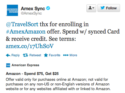 $25 Off $75 Amazon Spend with AMEX Twitter Sync - Confirmation Tweet