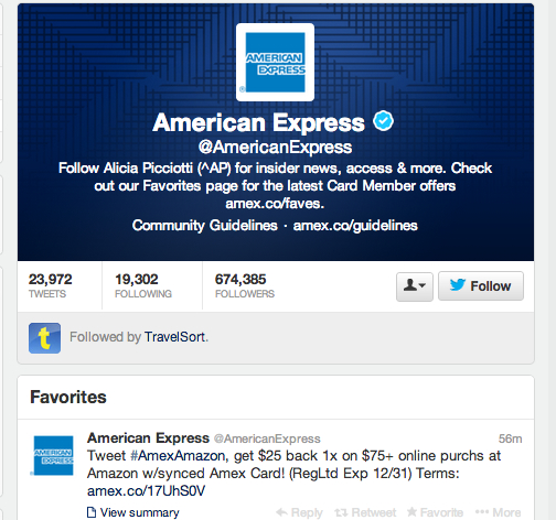 $25 Off $75 Amazon Spend with AMEX Twitter Sync