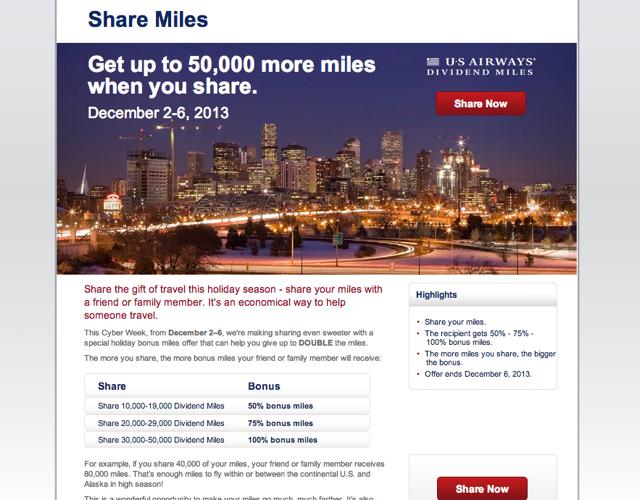 US Airways 100% Bonus on Shared Miles
