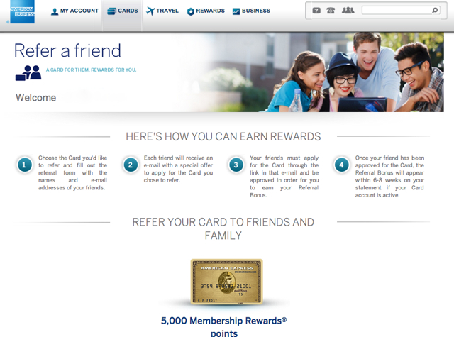 AMEX Refer a Friend: Up to 55K Bonus Points per Year, 5000 per Referral - AMEX Premier Rewards Gold
