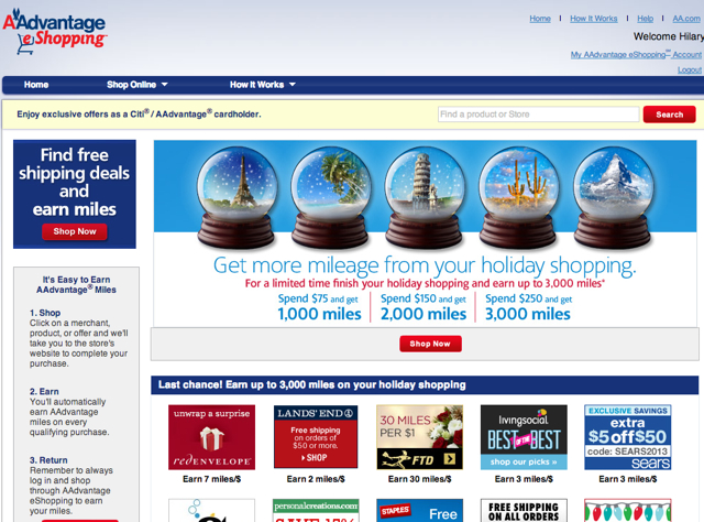 3000 Bonus AA Miles with $250 Spend at AAdvantage eShopping Mall