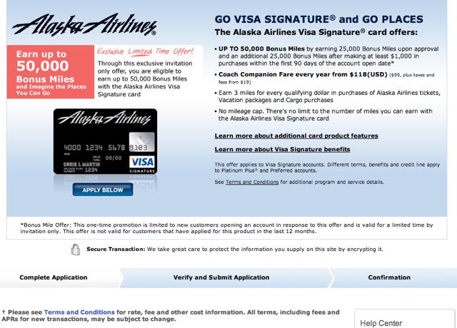 Alaska Airlines Visa-50K Bonus Miles Offer