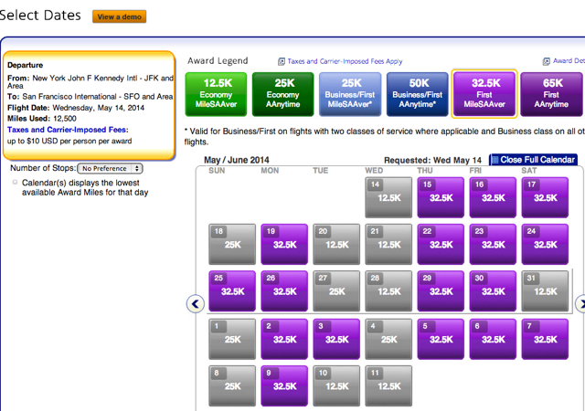 American A321 Transcon First Class Award Availability