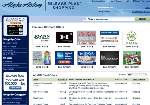 AMEX Gift Cards: 3X Alaska Miles via Alaska Mileage Plan Shopping Portal