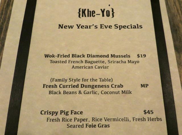 Khe-Yo Special Menu including Crispy Pork Face