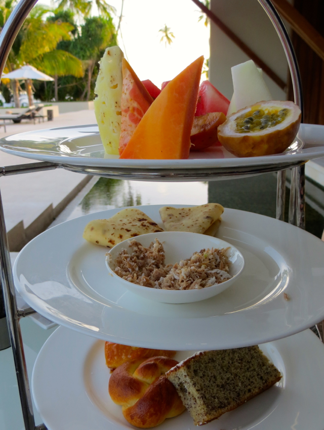 Park Hyatt Maldives Free Breakfast Changes - 3 Tiers of Fruit, Tuna Mushuni Roti, Pastries