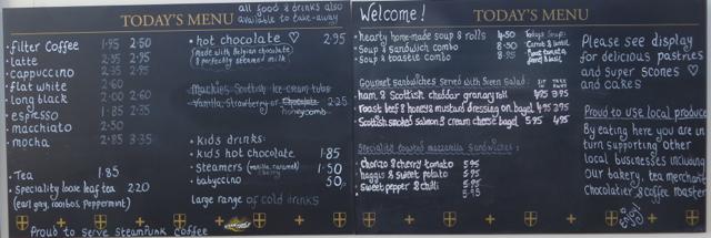 Rosslyn Chapel Coffee Shop Menu
