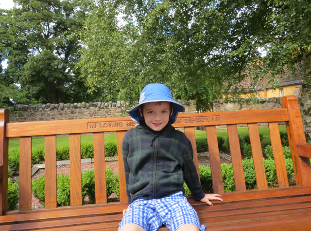 Relaxing on a Bench Outside Rosslyn Chapel, of Da Vinci Code Fame