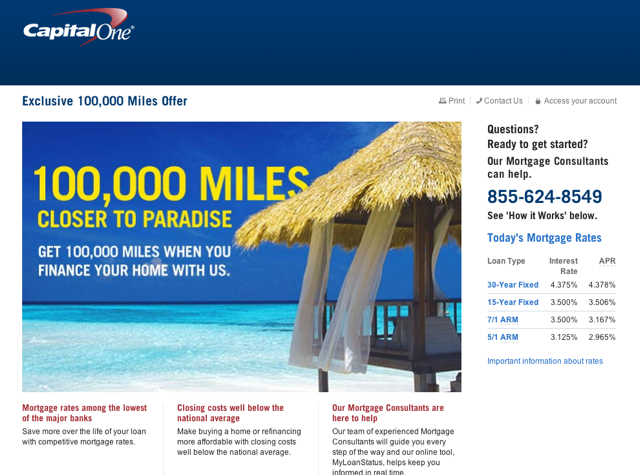 Capital One 100,000 Bonus Miles Mortgage Offer: How to Do Much Better