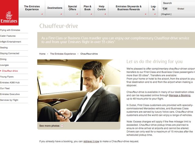 Complimentary Chauffeur Airport Transfers: Emirates Chauffeur
