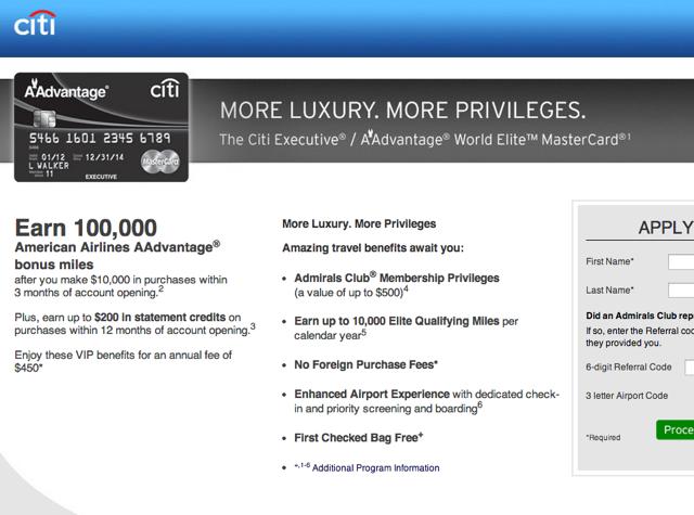 100K Citi Executive AAdvantage Card