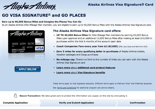 40,000 Alaska Airlines Visa Bonus Miles Offer