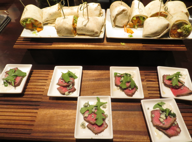 Club Lounge, Ritz-Carlton Denver - Evening Hors d'Oeuvres - Wraps and Steak with Blue Cheese