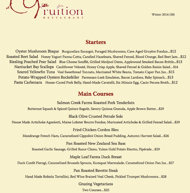 Fruition Restaurant Dinner Menu, Denver