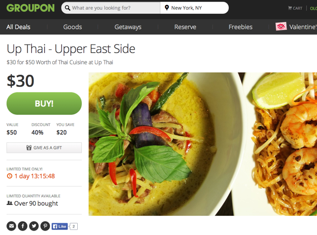 Up Thai NYC Restaurant Review - Groupon 40% Off Deal