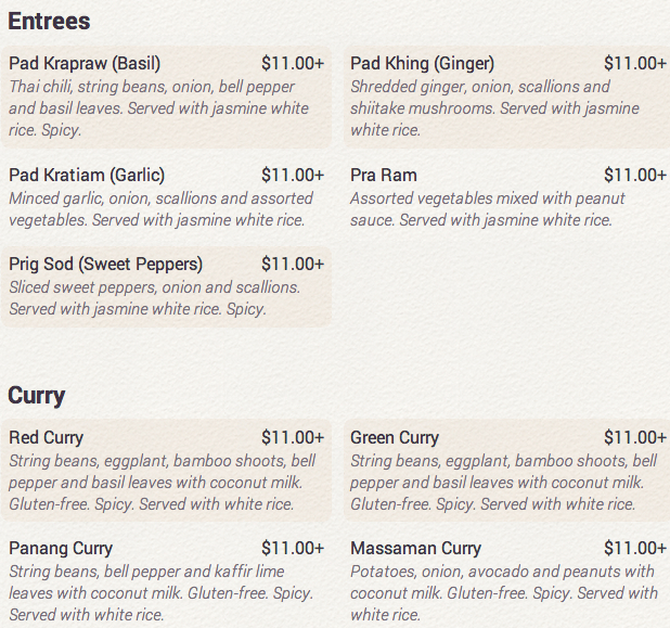 UP Thai NYC Menu - Entrees and Curries