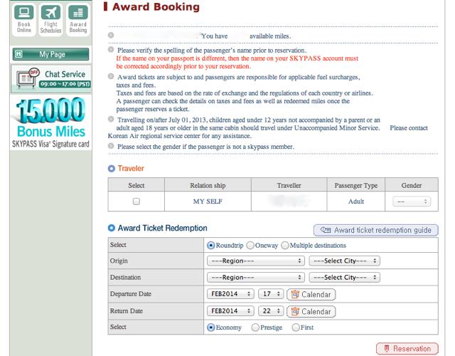 Book Korean Air Awards Online
