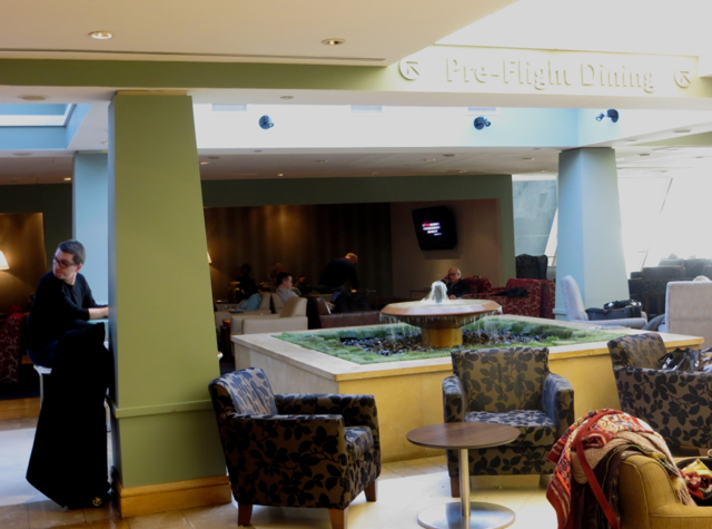 British Airways Galleries Lounge at JFK Terminal 7 Review - Seating Near Fountain