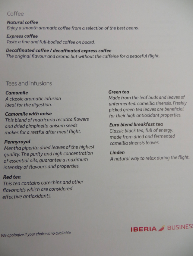 Iberia New Business Plus A330-300 Review - Coffee and Tea Menu